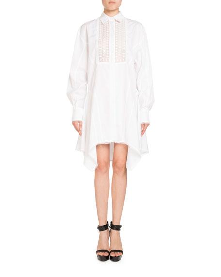 Lace-Placket Poplin Shirtdress