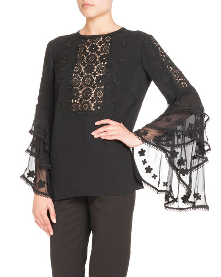 Silk Tier-Sleeve Blouse