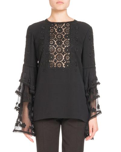 Silk Tier-Sleeve Blouse
