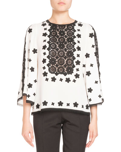 Two-Tone Lace Crepe Blouse