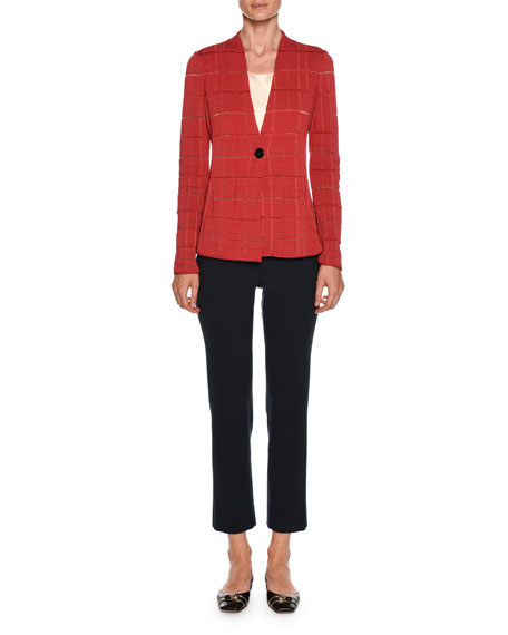 Sheer Windowpane Check One-Button Blazer