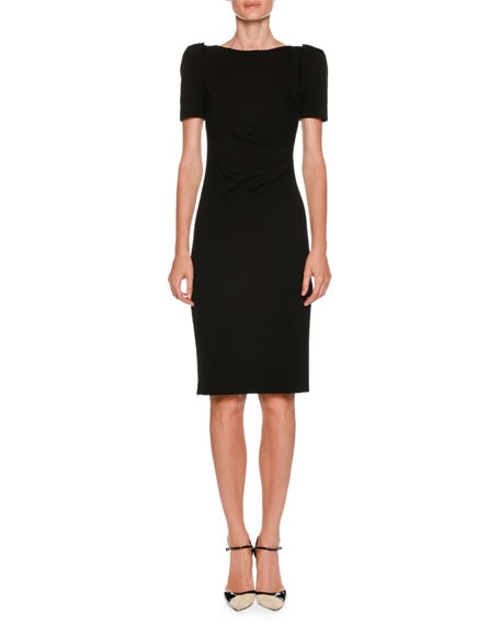 Bateau-Neck Short-Sleeve Sheath Dress w/ Ruched Side