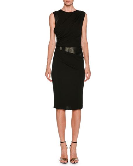 Sleeveless Side-Ruched Sheath Jersey Dress w/ Leather Panel