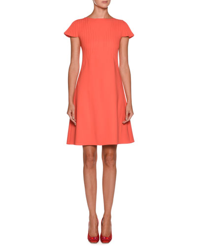 High-Neck Cap-Sleeve Pintucked A-Line Wool Dress