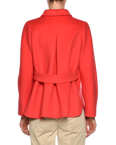 One-Button Wool-Cashmere Swing Jacket