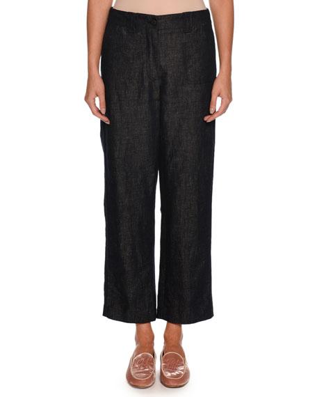 Wide-Leg Cotton-Linen Denim Pants
