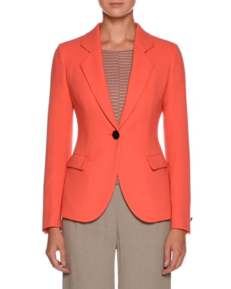 Notched-Lapel One-Button Wool Jacket