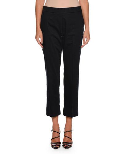 Straight-Leg Side-Zip Cropped Cotton Pants