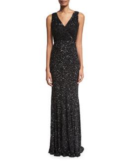 Xandra Hand-Embellished V-Neck Gown, Black
