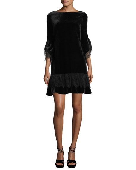Noleta Lace-Trim Velvet Dress