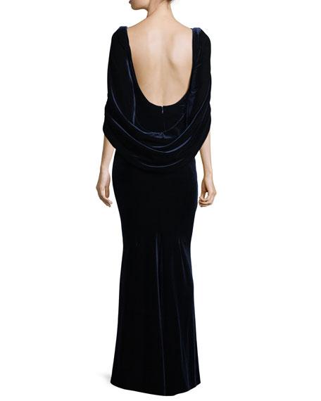 Konica Velvet Drape-Back Gown