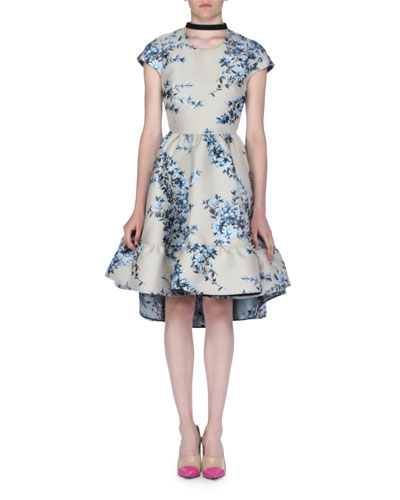 Cap-Sleeve Floral Jacquard Dress with Ribbon Tie