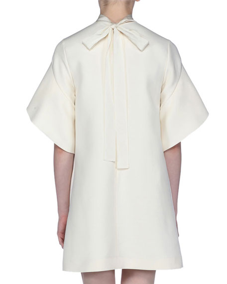 Short-Sleeve Tie-Neck Gazar Dress