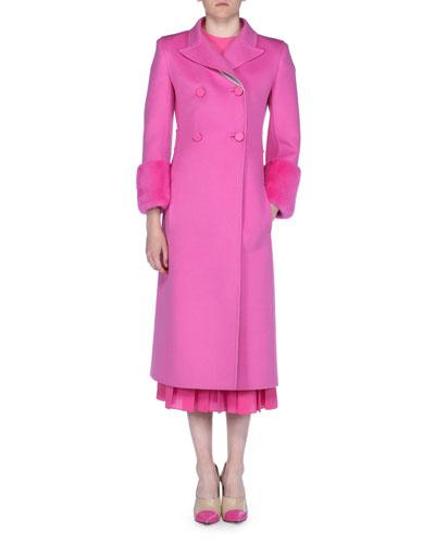 Fleece Wool Coat with Mink Fur Cuffs