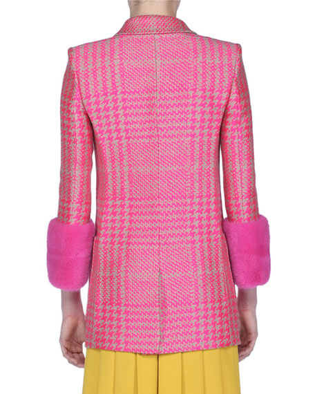 Princes of Wales Check Jacket with Fur Cuffs