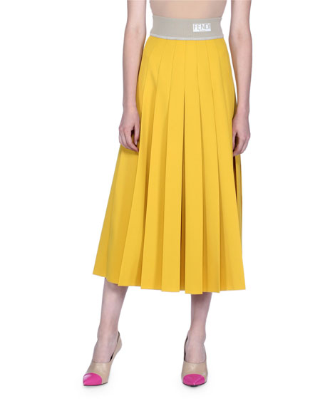 Pleated Gabardine Midi Skirt
