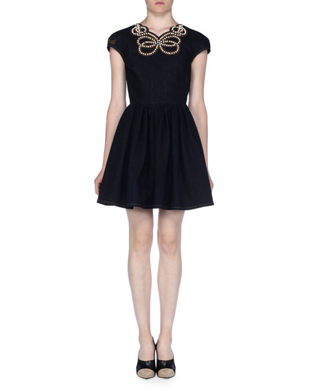 Cap-Sleeve Pearly Beaded Cocktail Dress