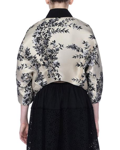 Floral Satin Zip-Front Cape Jacket