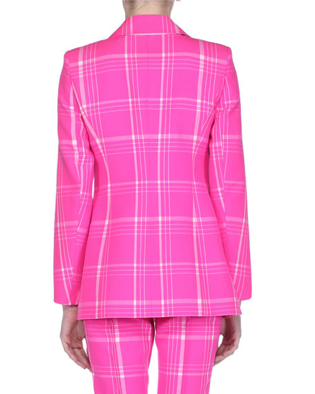 Pop Tartan Plaid Double-Breasted Fleece Blazer
