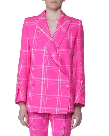 Pop Tartan Plaid Double-Breasted Fleece Blazer