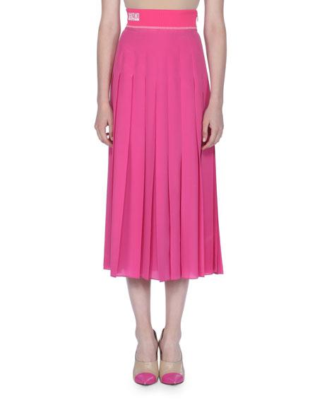 Pleated Crepe de Chine Skirt
