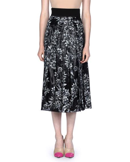 Floral Devore Velvet Midi Skirt