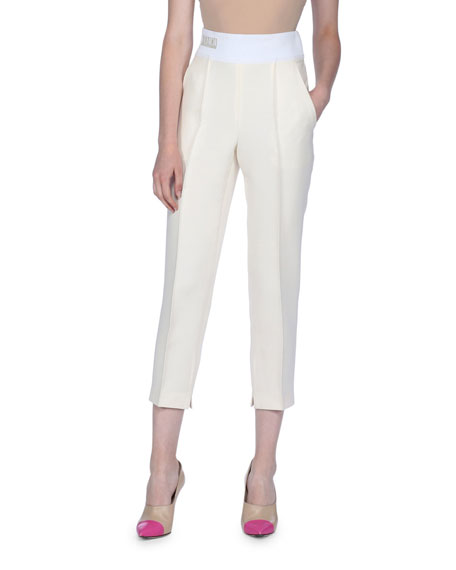 Logo-Detailed Tapered Wool-Silk Pants, Ivory