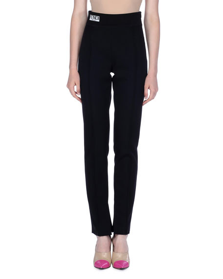 Pleated Gabardine Pants With Knit Waist by Fendi