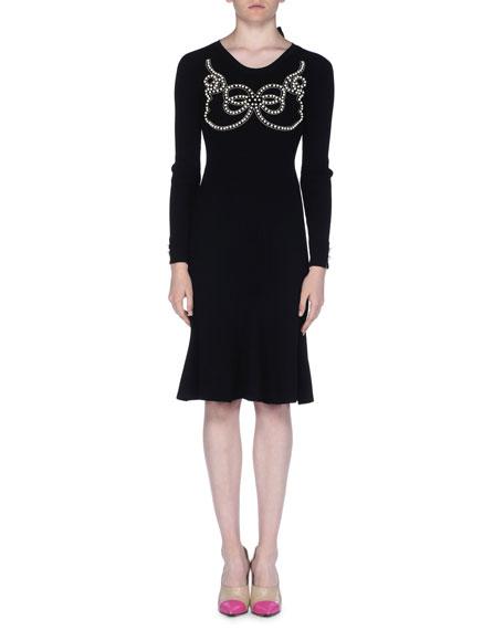Long-Sleeve Pearly Beaded Dress