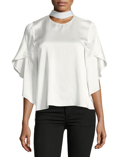 Mock-Collar Satin Cady Top