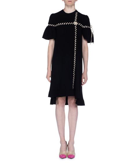 Short-Sleeve Whipstitch Dress