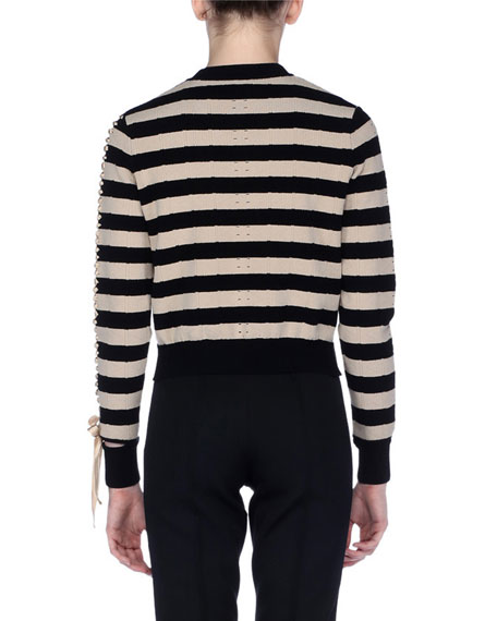Striped Crewneck Pullover Sweater