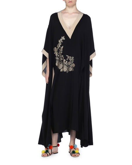 Long Floral-Embroidered Caftan Dress