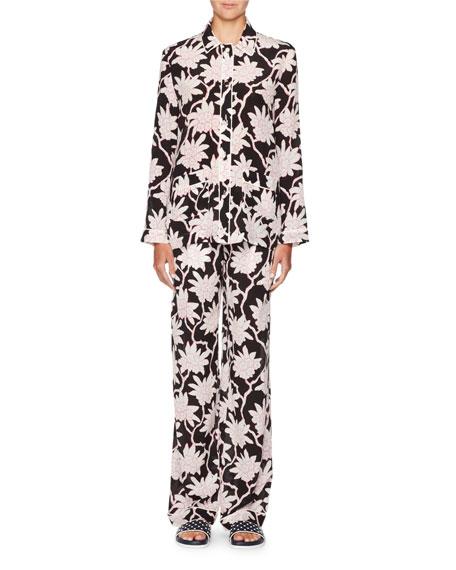 Rhododendron-Print Crepe de Chine Pajama Top
