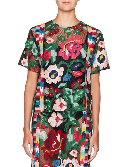 Short-Sleeve Carpet-Embroidered Blouse