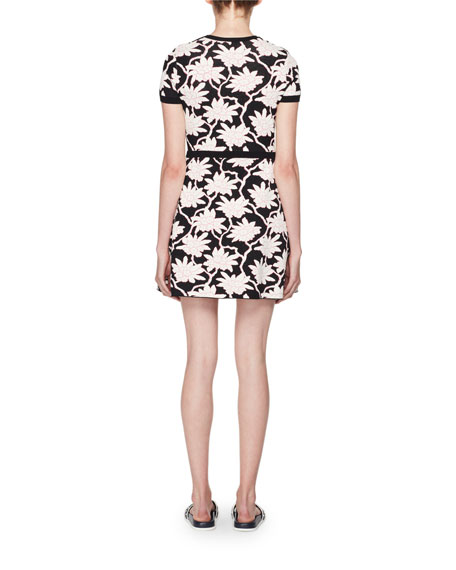 Crewneck Short-Sleeve Jacquard Knit Dress