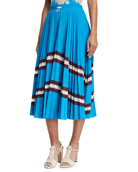 Jersey Lycra® Plisse Midi Skirt with Lace