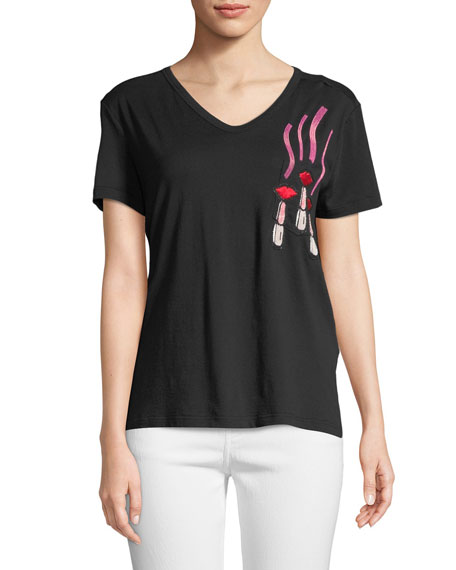 Short-Sleeve V-Neck Lipstick-Embroidered Cotton T-Shirt