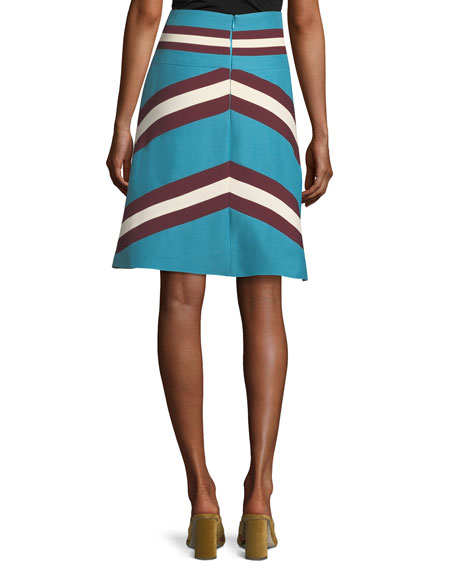 A-Line Crepe Couture Colorblock Skirt