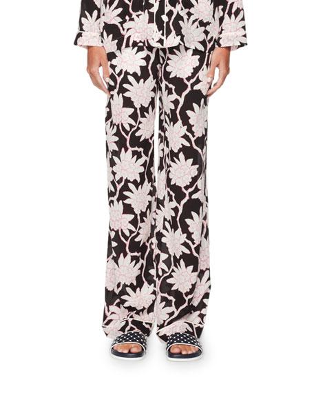 Rhododendron-Print Pajama Pants