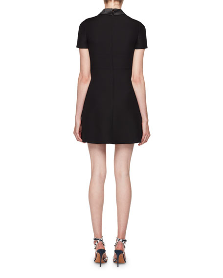 Short-Sleeve Lipstick-Sequined Crepe Couture Dress