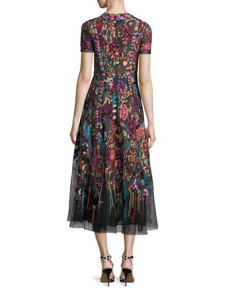 High-Neck Short-Sleeve Carpet-Embroidered Midi Dress
