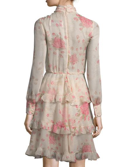 Long-Sleeve Rose-Print Chiffon Dress