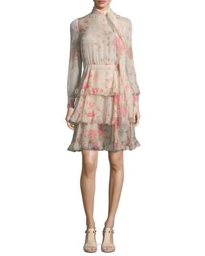 Long-Sleeve Rose-Print Chiffon Dress