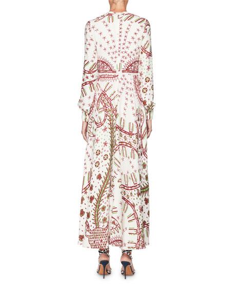 Long-Sleeve Keyhole-Neck Printed A-Line Long Dress