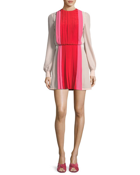 Long-Sleeve Pleated Crepe de Chine Colorblock Mini Dress