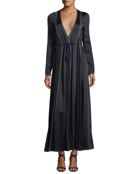 Long-Sleeve Hammered Satin Maxi Dress