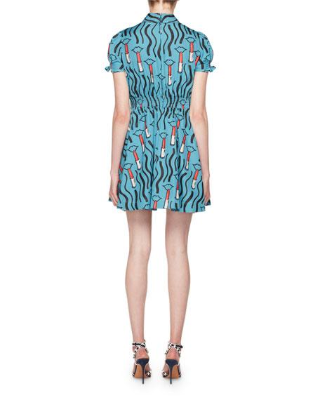Short-Sleeve Lipstick-Print Collared Dress