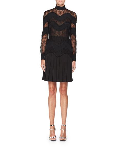 Mock-Neck Wavy Lace Dress
