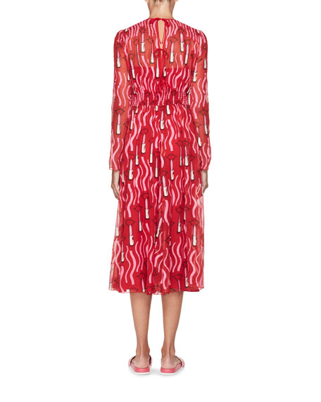 Lipstick-Print Chiffon Midi Dress